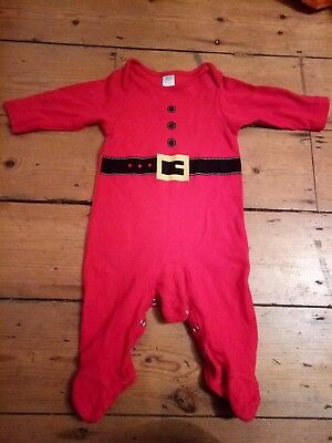 Boys Girls Santa Christmas Outfit 6-9 months All in one Babygrow TU