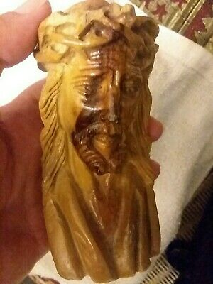 Hand Carved Wood JESUS Christ Christian Art Sculpture Face Head Religious Figure