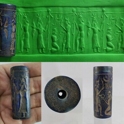 Sassanian Wedding Cylinder Seal Bead Very Old Lapis Lazuli Round Intaglio #274