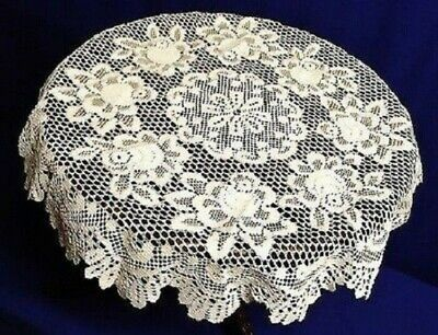 """30"""" Round Lace Table Topper Tablecloth Ivory Alpine Rose Diningroom Bedroom"""