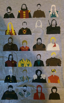 Game of Thrones Character T Shirt Grey, Size L, Tyrion Lannister Jon Snow Stark
