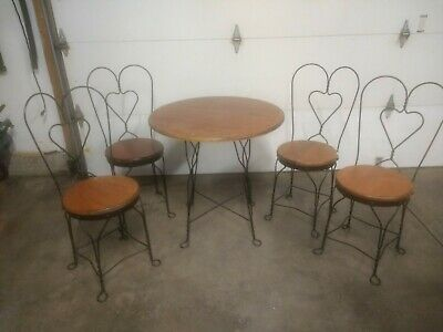Antique Ice Cream Parlor Soda Fountain Table And 4 Chairs