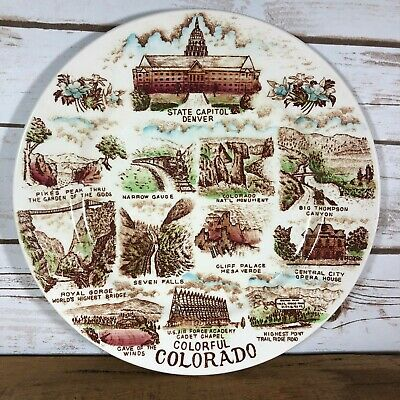 """Vintage State Collector Plate Colorful Colorado Tourist Attractions Sites 10.25"""""""