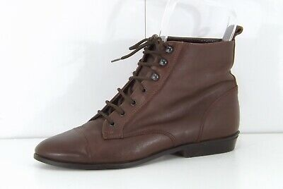 M&S Vintage 80s Brown Tan REAL LEATHER Ladies Lace Up Ankle Boots size UK 5 EU38