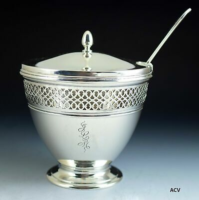 Antique Tiffany & Co Sterling Silver Caviar Dish, Orig. Glass Liner w/ Spoon