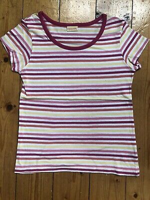 Girls Multicoloured Striped Cotton Summer T'shirt Age 8-9 Years 134Cm Vgc