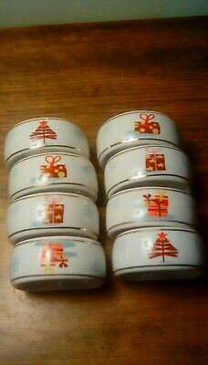 Ceramic Christmas Napkin Rings X 8