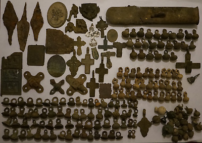 A mix of ancient finds Big lot of ancient artifacts arrowhead,crosses,icon...