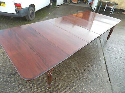 antique,regency,extending,4 leaf,mahogany,dining table,fluted legs,large,11 foot