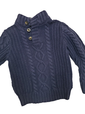 BABY GAP Boys Navy Sherpa Cable Knit SWEATER Size 5 Fall Winter
