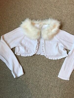 Monsoon Girls White Cardigan Bolero With Removable Faux Fur Collar- Age 11-12