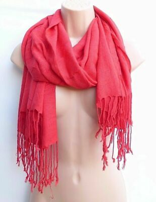 "Unisex Vintage Large Red Soft Viscose Shawl Scarf Wrap Cover Up Size 29"" X 71"""