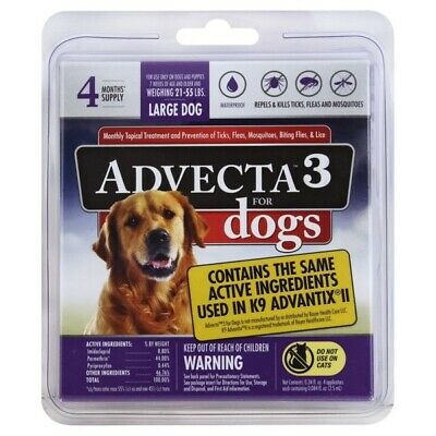 Advecta 3 for Large Dogs, 21-55 Lbs., 4 Month Supply, Same as K9 Advantix II