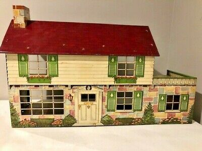 Vintage 1950'S / 1960'S Marx Tin Litho 6 Room Doll House