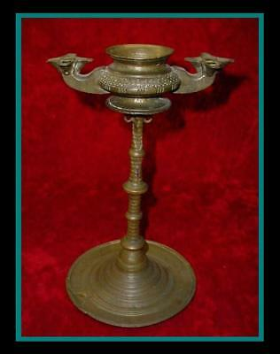 ANTIQUE Engraved Indonesian BRONZE OIL LAMP with 10 Fonts w/ Ornate Bronze STAND