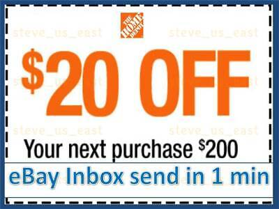 ONE 1x Home Depot Coupon $20 OFF $200 In-Store-Only---lNSTANT DELIVERY-NOW !