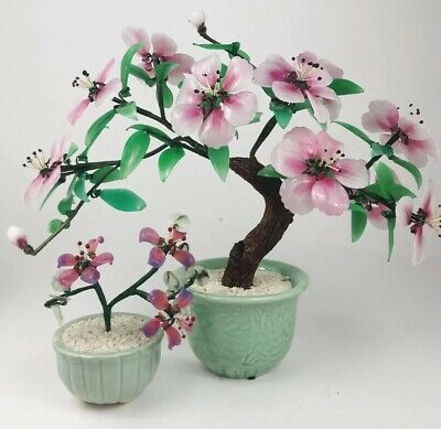 2 Vintage Glass Asian Bonsai Tree With Pink Flowers in Celadon Vase