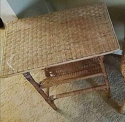 Vintage Calif-Asia Side Table Rattan Bamboo 22.5x14x23 Magazine Rack