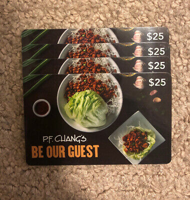 P.F. Chang's Gift Card - (4) $25 No Expiration One Time Use Only