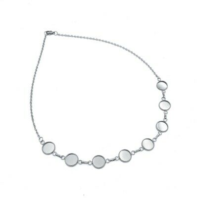 """2 x Stainless Steel 18"""" Necklace Strands with 10mm Cabochon Settings"""