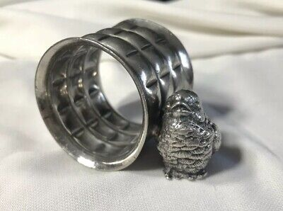 Antique Silver plate Napkin Ring With Baby Chick Or Bird