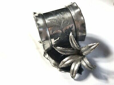 Victorian Antique Silver plate Napkin Ring With Lily