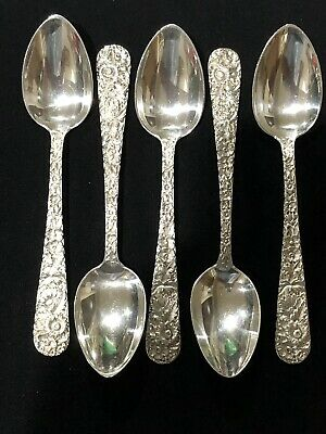 """5 - Repousse by Kirk & Son Sterling Silver Spoons 5.75"""" L"""