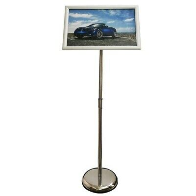 "Adjustable Steel Poster Stand Silver Frame Holds 11""x17"""