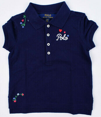 POLO RALPH LAUREN Girls' Kids' Floral Embroidery Polo Shirt, Navy, 2 or 3 years