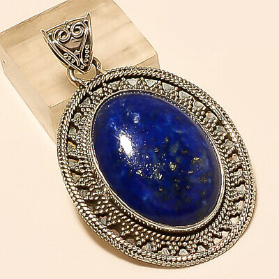Natural Afghan Lapis Lazuli Pendant 925 Sterling Silver New Year Jewelry Gifts