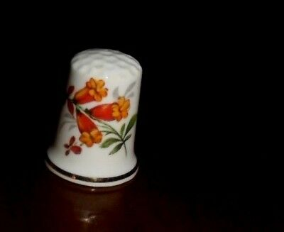 Collectable Floral Fine Bone China Thimble ~  Orange & Yellow Flowers ~ VGC!  #5