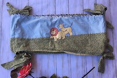 House of Hatten Jungle Embroidered Lions Elephant Baby Crib Bedding Bumper
