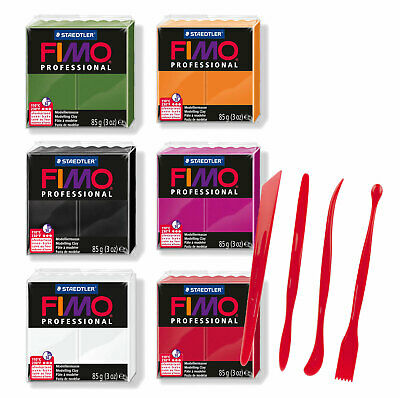Fimo Professional Polymer Clay Halloween Colours 57g and Clay Tools Set