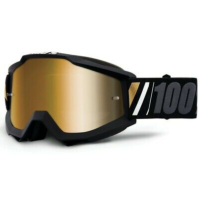 100% 2020 AccuriMotocross Goggles in Off Mirror True Gold Lens+ clear lens