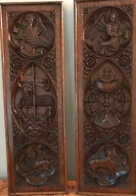 19TH Century Carved Oak Gothic Ecclesiastical Church Panels