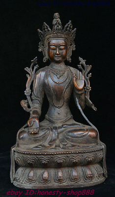 Old Tibet Buddhism Temple Purple Bronze Sit Lotus Kwanyin Avalokiteshvara Statue