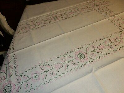"""Vintage Table Cloth Embroidered Beige Pink Green Floral 61 """" X 48"""" New"""