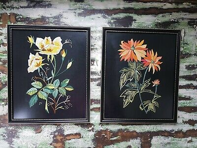 A Pair Of vintage Frame Floral Needle point  Embroidery in Black