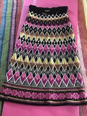 Vintage Seventies Hand Knit Norwegian Maxi Skirt Size 10
