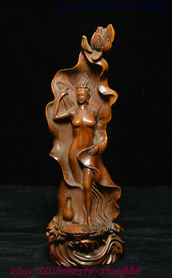 Collect Old China Natural Boxwood Wood Carving Lotus Naked Beauty People Statue