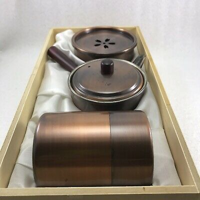 JA2 Japanese Copper WASTE-WATER POT /Tea caddy Container/Teapot 3 Pcs