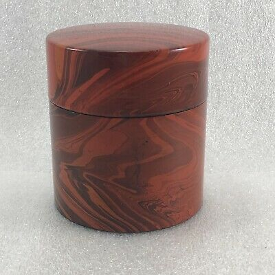 SK16 Japanese Lacquer Plastric Tea Caddy / Tea Container Red Brush Glaze
