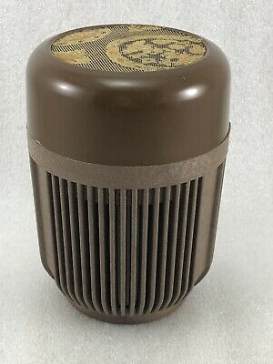 """JB18 Japanese Lacquer Plastc Tea Caddy / Tea Container Brown Color 4 3/4"""""""