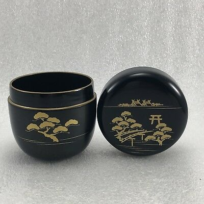 Z60 Japanese Lacquer Tea CADDY Container / Tea  Container Gold Tree