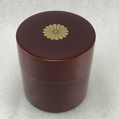 JB16 Japanese Red Lacquer Plastc Tea Caddy / Tea Container 3 5/8''