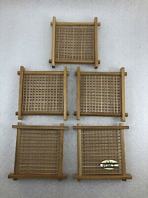 TC25  Japanese Wood Bamboo Tea Mat Tray Saucer Coaster Set Of 5