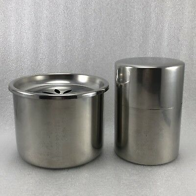 Z32 Set Of 2 Japanese  Stainless Tea Caddy /Waste Water Pot Tea Ceremony Signed