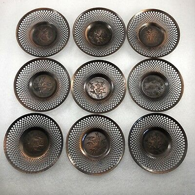 Z11 Japanese Tin Carved TEA CUP TRAY Saucer Chatakun Set Of 9 Signed