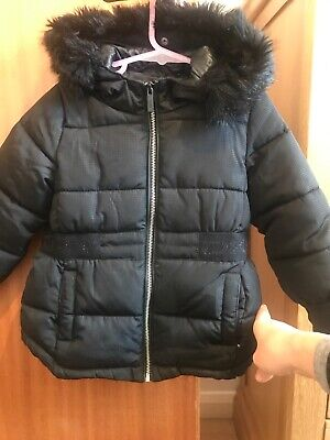 Girls Kids Black Puffer Hooded Padded DKNY Jacket Coat Size 4 Years Faux Fur