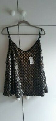 Next Black/Gold Sequin Cami top Christmas Party Size 16 BNWT
